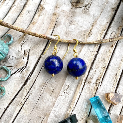 Blue Marble Ocean Blue Gratitude Gold Plated Earrings with Lapis Lazuli Earth Symbol