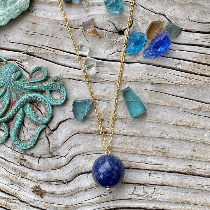Blue Marble Ocean Blue Gratitude Gold Plated Necklace with Lapis Lazuli Earth Symbol Pendant