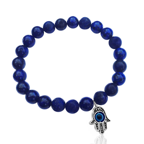 Lapis Lazuli Bracelet with Hamsa Hand to Ward off Evil and for Self-awareness.