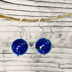 Blue Marble Ocean Blue Lapis Lazuli Earth Symbol Earrings - Silver
