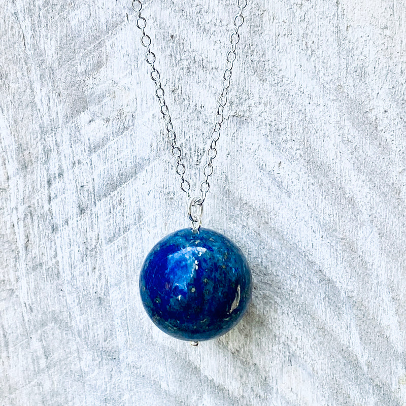Blue Marble Ocean Blue Gratitude Silver Necklace with Lapis Lazuli Earth Pendant