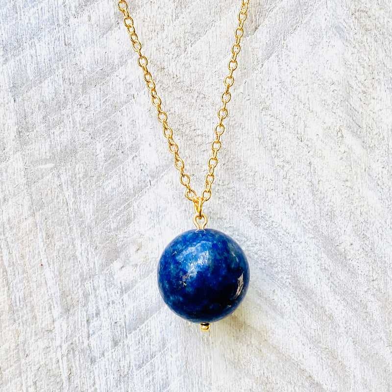 Blue Marble Ocean Blue Gratitude Gold Necklace with Lapis Lazuli Earth Pendant
