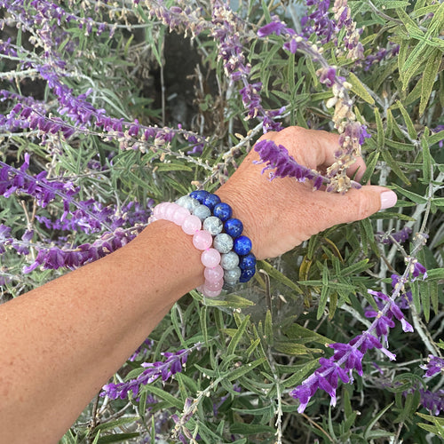 Jewelry to Repel Negativity: Lapis Lazuli Bracelet to Enhance the Magic of Your Own Mighty Will, Rose Quartz Bracelet for Compassion and Healing Your Heart and Jasper Mala Bracelet against Negativity.