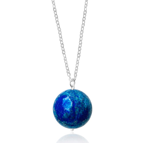 Blue Marble Ocean Blue Gratitude Silver Necklace with Lapis Lazuli Earth Symbol Pendant