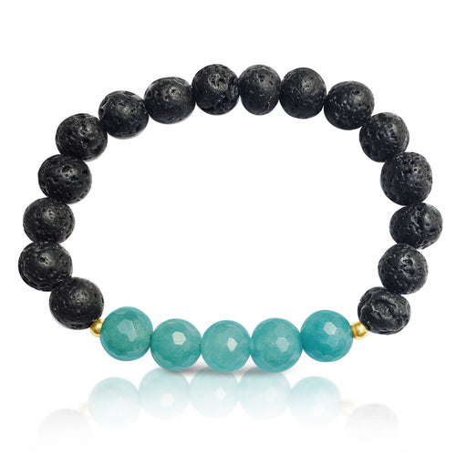 Lava Stone with Blue Agate Bracelet for Important Decisions
