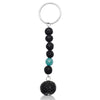 Lava Stone Keychain with Blue Agate for Important Decisions