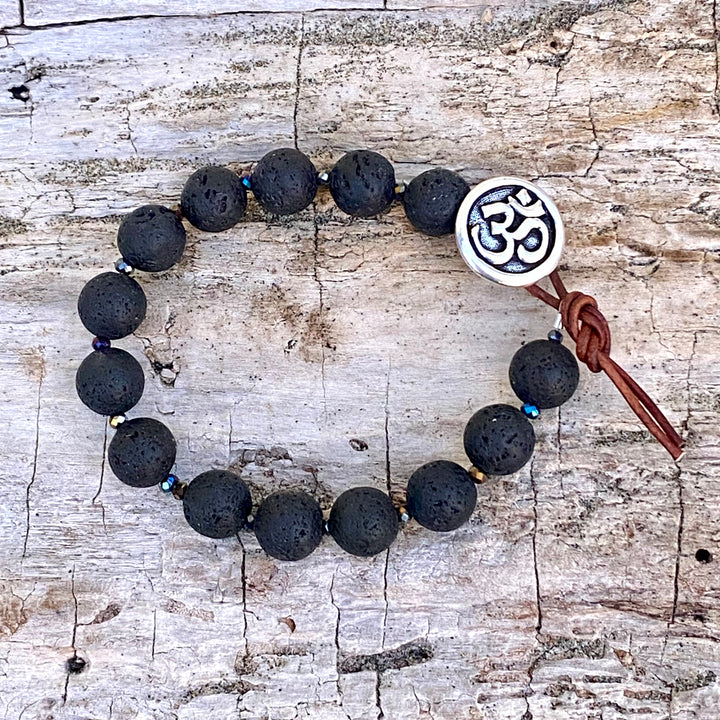 Unisex Lava Bracelet with Ohm to Give Us Strength and Courage