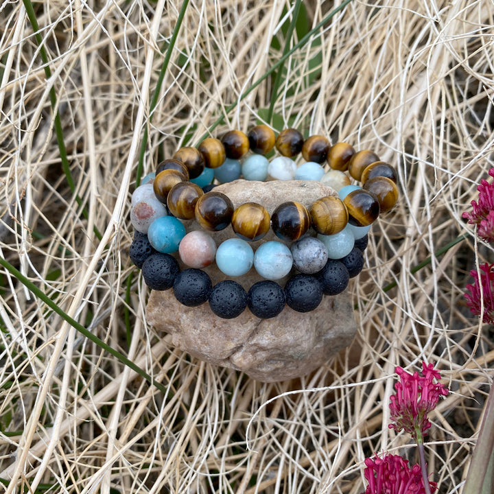 Lava Stone, Amazonite and Tiger Eye Bracelet Trio for Calming Emotions and Grounding and Feeling the Power Within.