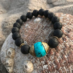Lava Stone Bracelet with Turquoise for Calming Emotions