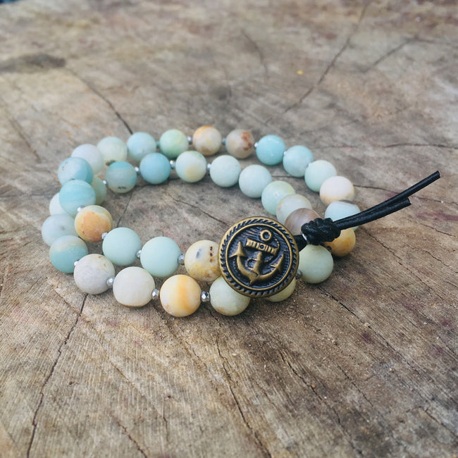 Amazonite Wrap Bracelet with Anchor to Help Keep a Clear Mind - Combo with a Magical Seahorse
