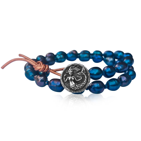 Mermaid Soul - Pearl and Leather Wrap Bracelet with Mermaid Button