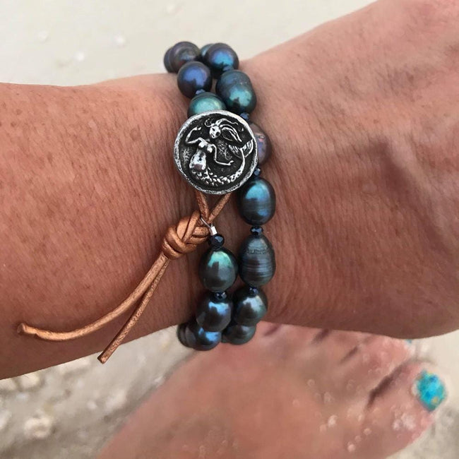 Mermaid Soul - Fresh Water Pearl and Leather Wrap Bracelet with Mermaid Button