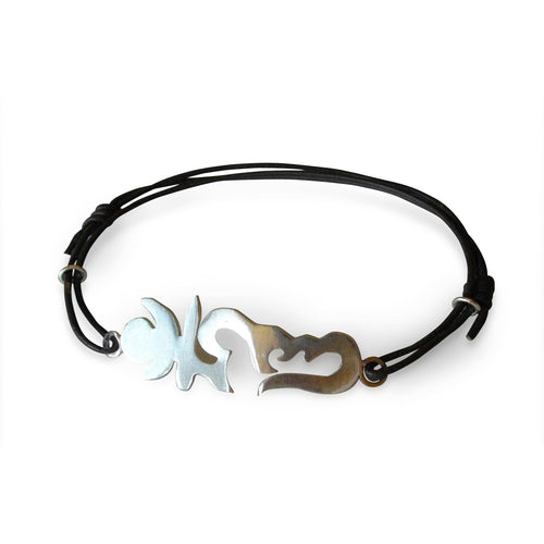 Adjustable Spiritual Leather and Sterling Silver Karma Accelerator Ohm Bracelet.