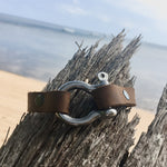 Leather Bracelet for Perseverance with nautical style shackle