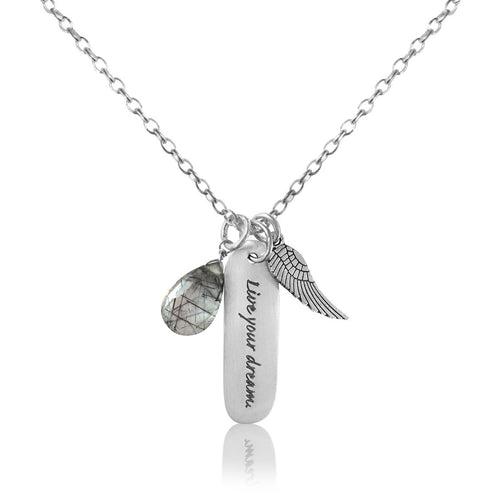 Sterling Silver Live Your Dream Inspirational Quote Necklace with a Silver EP Angel Wing and a Rutilated Quartz Charm.  A dream doesn't become reality through magic; it takes sweat, determination and hard work.