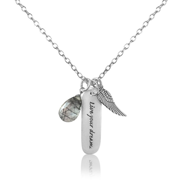 Inspirational Necklace with Angel Wing and Rutilated Quartz