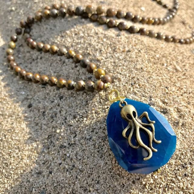 Limited Edition Ocean Inspired Blue Agate Pendant with Octopus Charm on  a Long Jasper Necklace