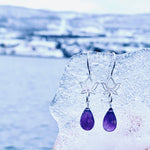 Sterling Silver Calming and Stress Relief Amethyst Lotus Flower Earrings