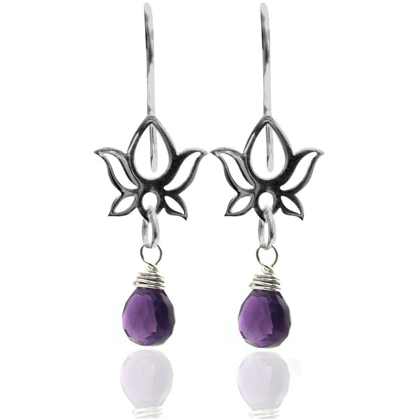 Lotus Flower Earrings with Amethyst