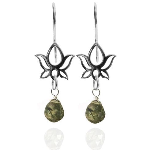 Sterling Silver Aqua Moss Lotus Flower Yoga Inspired Earring for Grounding