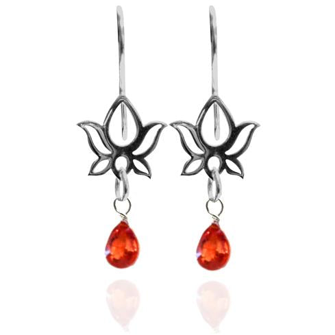 Sterling Silver Lotus Flower Yoga Inspired Earring with Orange Quartz for Self Esteem