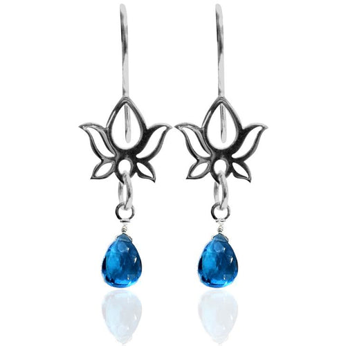 Sterling Silver Lucky Turquoise Blue Lotus Flower Yoga Inspired Earring