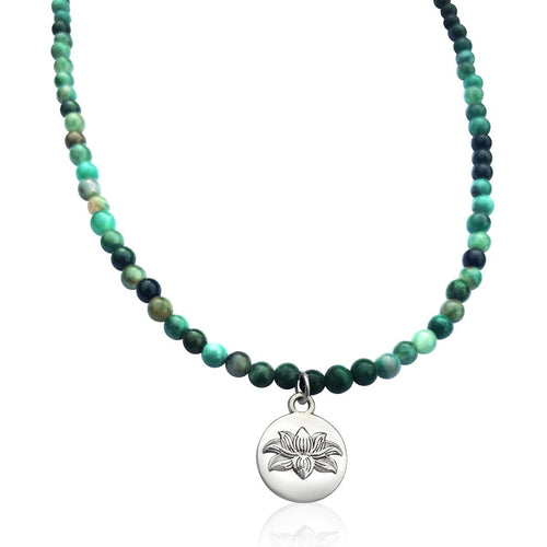 Fancy Jasper Necklace with Lotus Flower for Self-Regeneration