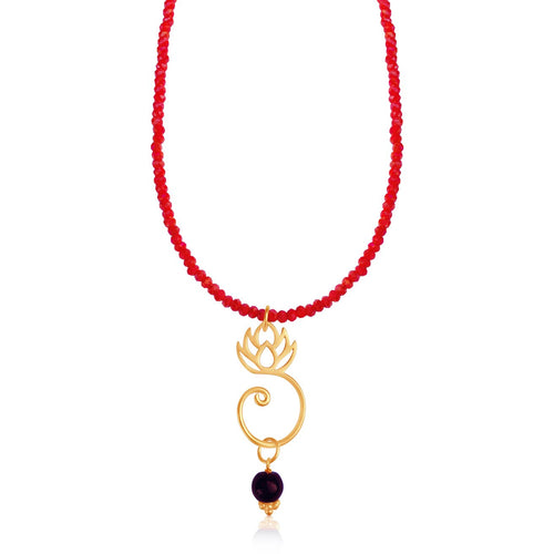 Orange Crystal Lotus Flower Necklace (GF)