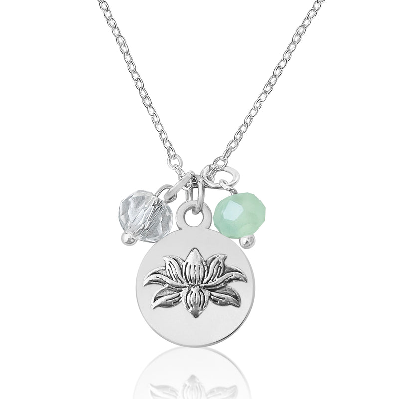 Lotus Charm Necklace with Ocean Green Foam and Clear Crystals