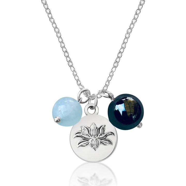 Lotus Charm Necklace with with Hematite and Aquamarine