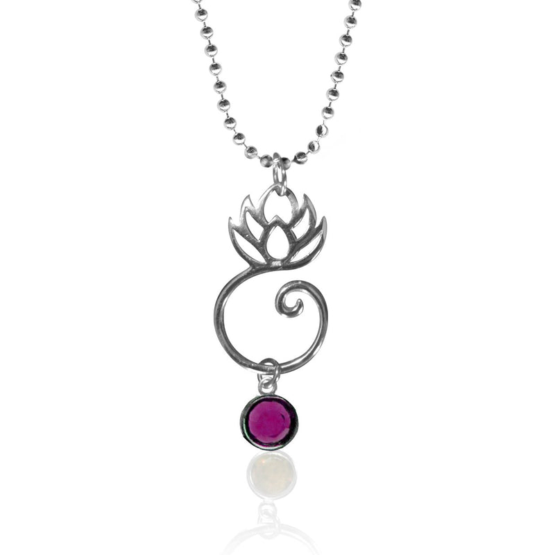 Spiritual Lotus Flower Yoga Necklace with a Swarowski Crystal