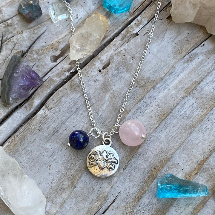 Yoga Inspired Lotus Charm Necklace with Rose Quartz and Lapis Lazuli