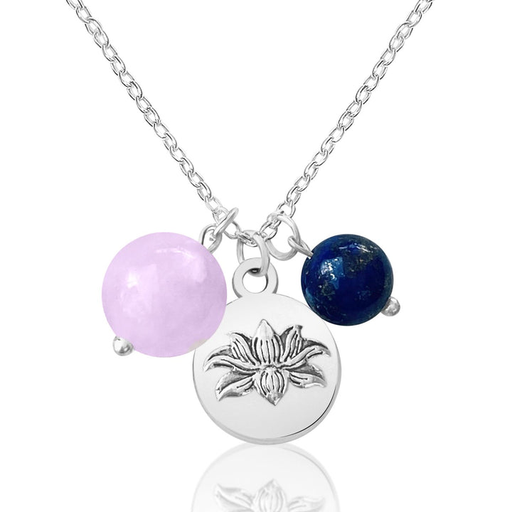 Lotus Charm Necklace with Rose Quartz and Lapis Lazuli
