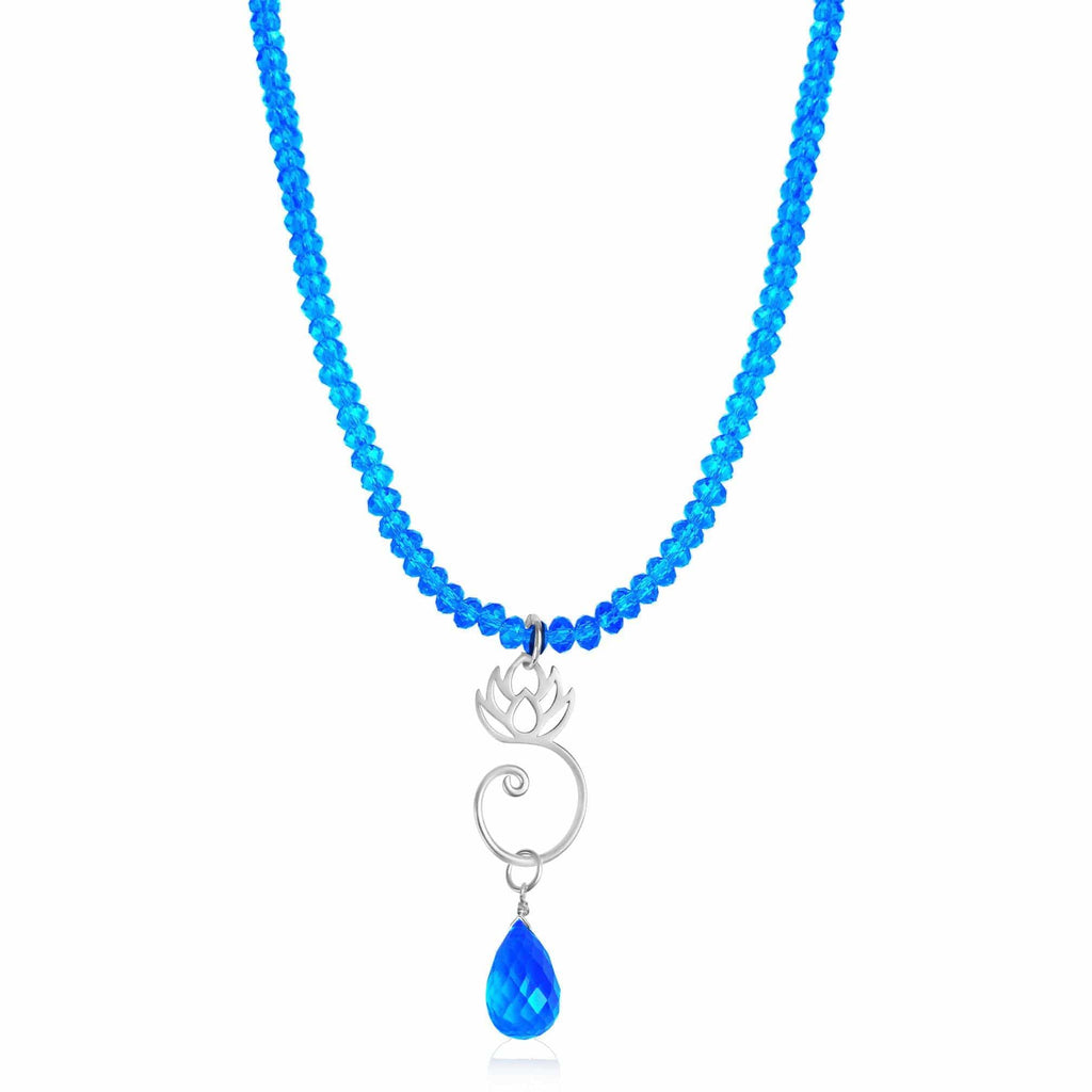 Yoga Inspired Turquoise Blue Crystal Necklace With Silver Lotus Flower