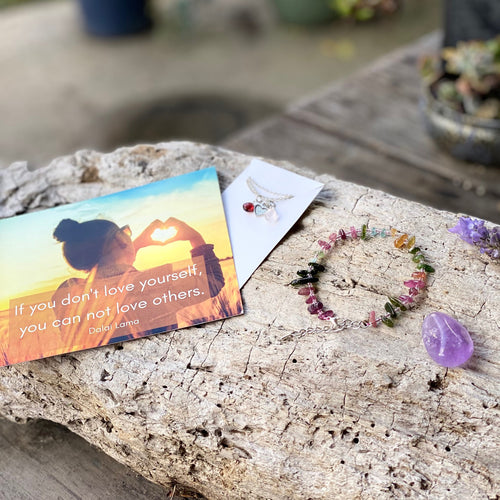 The Compassionate Living subscription box is created to help you live your daily life aligned with Mother Nature and the Universe. February: We are practicing the art of Self-Love