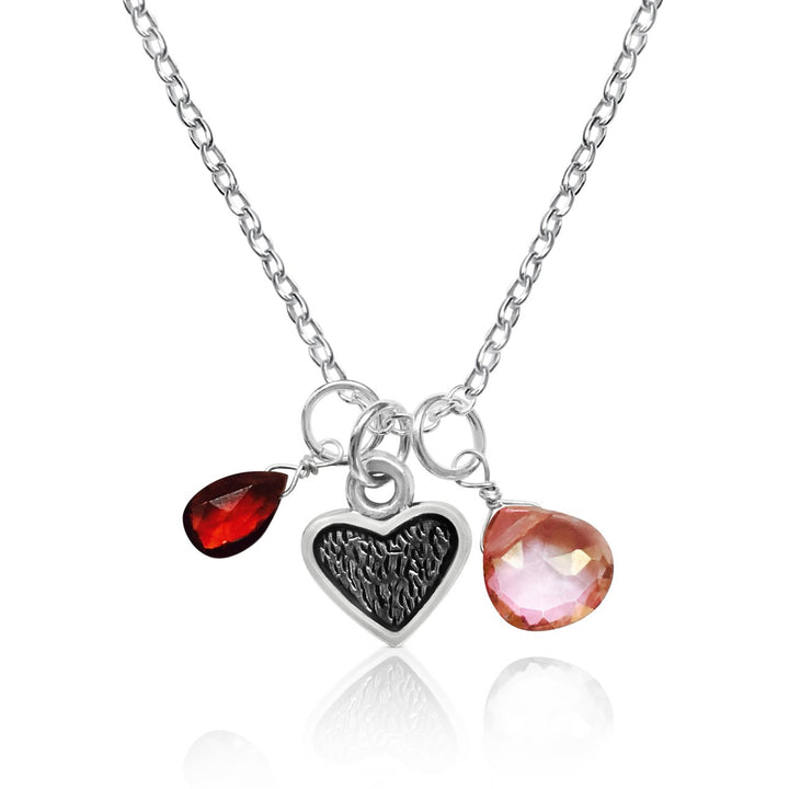 Loving Heart Necklace with Garnet and Rose Quartz