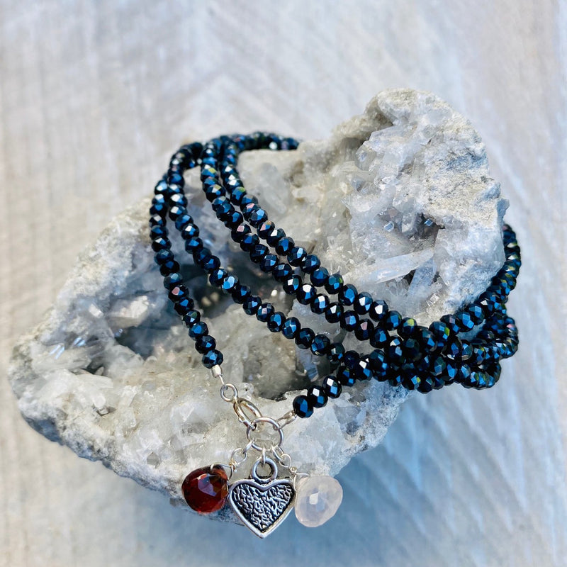 Loving Heart Midnight Dark Crystal Wrap Bracelet with Garnet & Rose Quartz