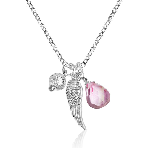 Silver Lovely Thoughts Necklace with Protective Angel Wing