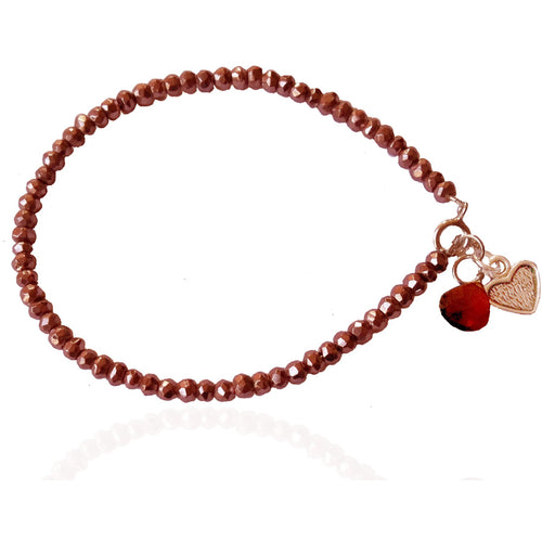 Lovely Thoughts Bracelet Created with Pink Pyrite, Garnet and Antiqued Silver EP Heart Charm. This bracelet is filled with Vitality and Loving Energy for the Self & Others in Your Life.