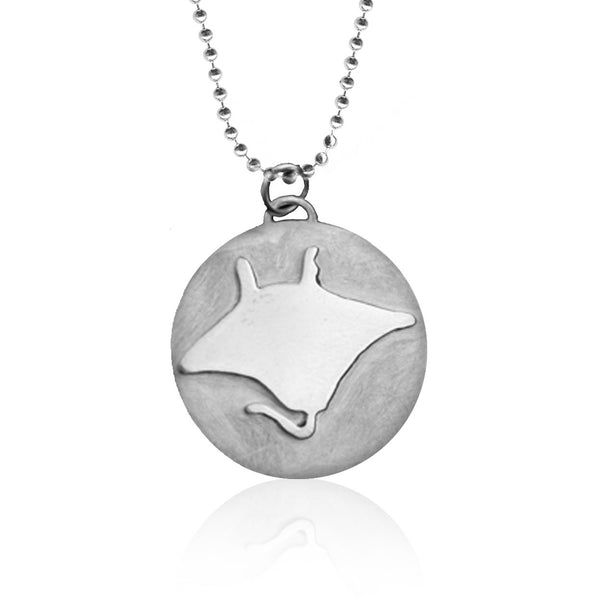 Sterling Silver Ocean Inspired Miss Scuba Manta Ray Charm Necklace with Blue Glass and Dive Charms
