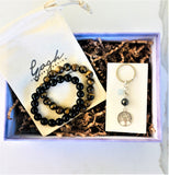 Gift Set for the Guys: Tiger Eye Grounding Bracelet, Onyx Bracelet for Self-Control, Tree of Life Key Chain for Grounding in a READY TO GIFT Box