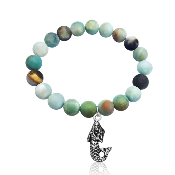 Amazonite Bracelet with a Mermaid Charm