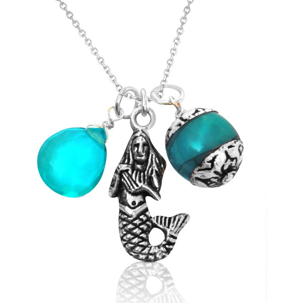 Mermaid Charm Necklace with Aquamarine and Turquoise