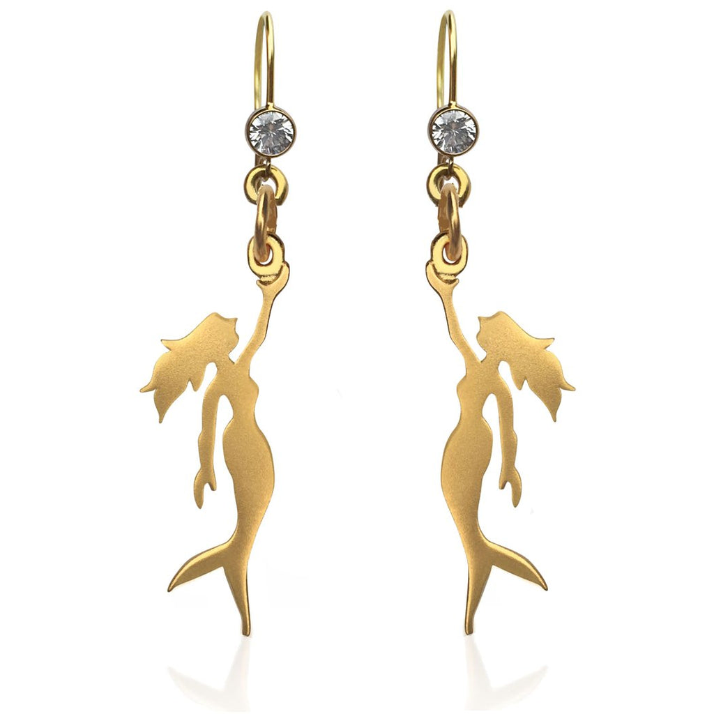 Gold Miss Scuba Mermaid Earring with Crystal. Gold Mermaid Jewelry.