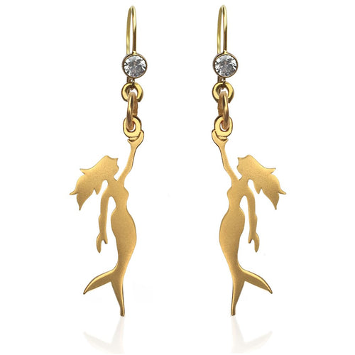 Gold Miss Scuba Mermaid Earring with Crystal