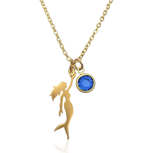 Gold Miss Scuba Mermaid Necklace with Swarovski Crystal