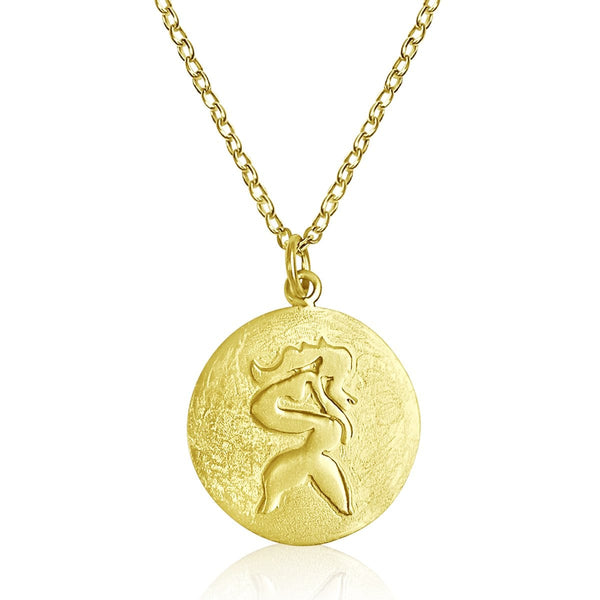 Gold Filled Sitting Mermaid Ocean Inspired Necklace from the Miss Scuba Jewelry Collection. Mermaids symbolize Love, Beauty, Mystery, Untamed Spirit and Femininity.