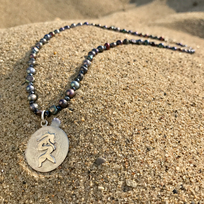 Our Signature Ocean and Beach Lovers' Miss Scuba Mermaid Necklace with pearl