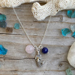 Ocean Inspired Mermaid Charm Necklace with Rose Quartz and Lapis Lazuli