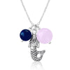 Ocean Inspired Mermaid Necklace with Rose Quartz and Lapis Lazuli